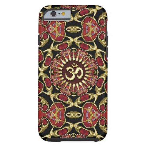 Sanskrit Om Gold + Red Baroque iPhone 6 Case