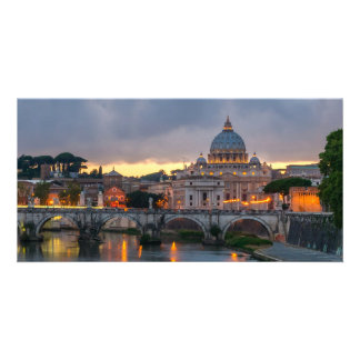 Sant Angelo bridge Saint Peter Basilica Rome Italy Personalized Photo Card