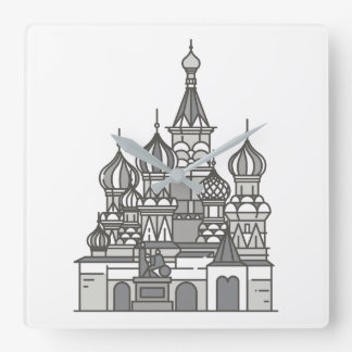 Sant Vasily cathedral in Moscow World landmarks Square Wall Clock