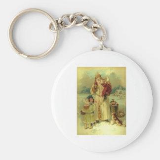 Santa 1897 Vintage Victorian Christmas Basic Round Button Keychain