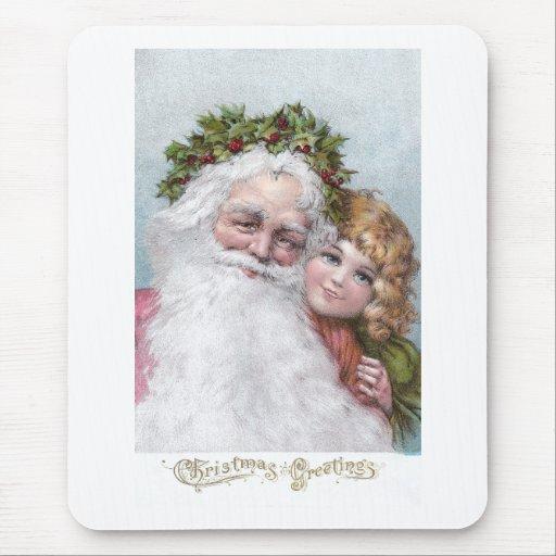 Santa 1907 con la corona y el chica del acebo tapetes de raton