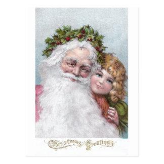 Santa 1907 con la corona y el chica del acebo postal