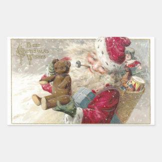 Santa 1913 con el oso y el tubo de peluche pegatina rectangular