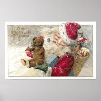 Santa 1913 con el oso y el tubo de peluche póster