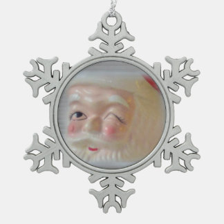 Santa 2 Pewter Snowflake Ornament