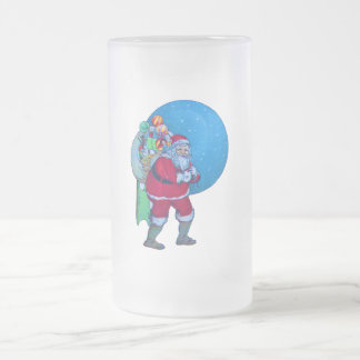 SANTA 3 FROSTED GLASS BEER MUG