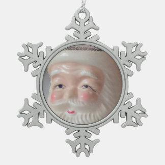 Santa 3 Pewter Snowflake Ornament