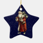 Santa & 3 Wise Men Christmas Star & Snow Ornament