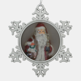 Santa 4 Pewter Snowflake Ornament