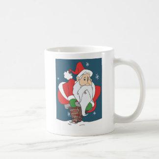 Santa abajo de la chimenea taza básica blanca