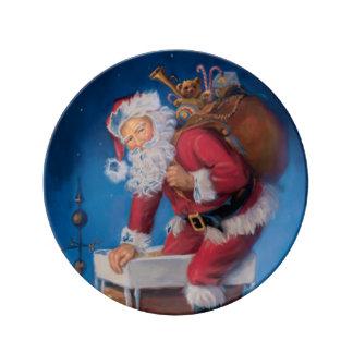 Santa abajo de la placa de Porcelin del vintage de Platos De Cerámica