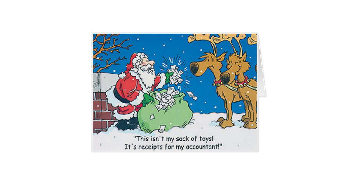 funny christmas cards santa accountant receipts cards zazzle 31209