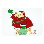 Santa agarra el gatito invitación 12,7 x 17,8 cm