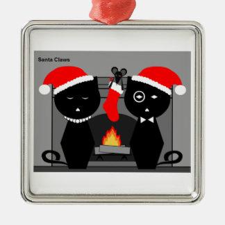 Santa agarra el ornamento adorno navideño cuadrado de metal