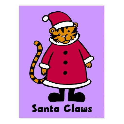 Santa agarra el tigre postales