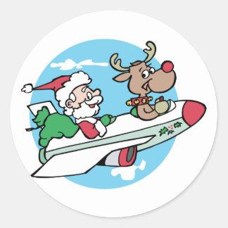 Santa Airways Round Stickers