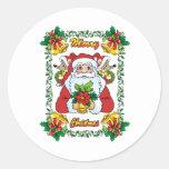 Santa alegre etiqueta redonda