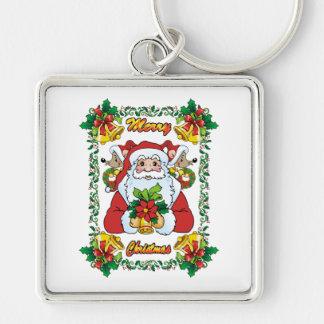 Santa alegre llavero cuadrado plateado