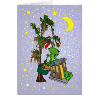 Santa Alligator Cajun Bayou Christmas Card