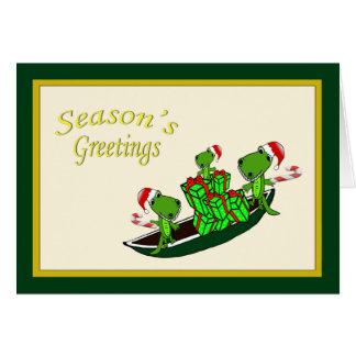 Santa Alligators Pirogue Christmas Card