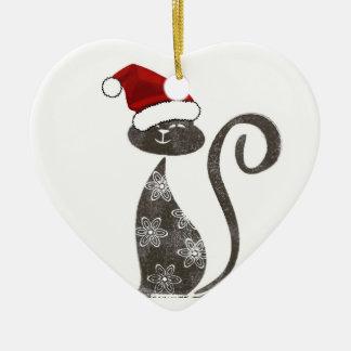 Santa ama el corazón del ornamento de los gatitos adorno de navidad