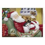Santa ama la tarjeta de Navidad de los gatos