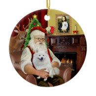 Santa-American Eskimo Dog Christmas Tree Ornament