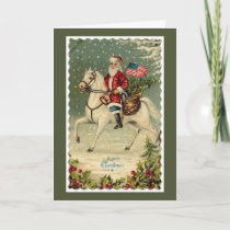 Santa American Flag Horse Christmas Holiday Card