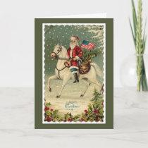 Santa American Flag Horse Christmas Holiday Card