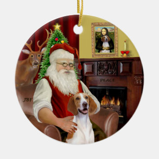 Santa-American Foxhound Ceramic Ornament