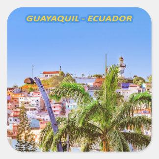 Santa Ana Hill, Guayaquil Poster Print Square Sticker