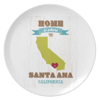 Santa Ana, mapa de California - casero está donde  Plato De Comida