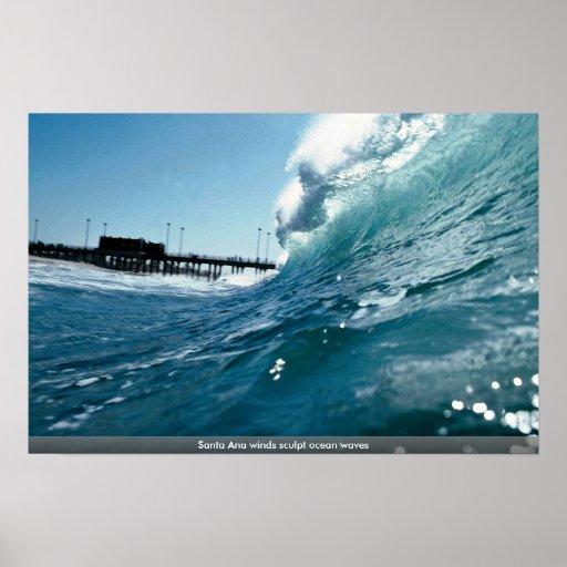 Santa Ana winds sculpt ocean waves Posters
