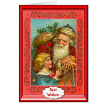 Santa and a little boy card