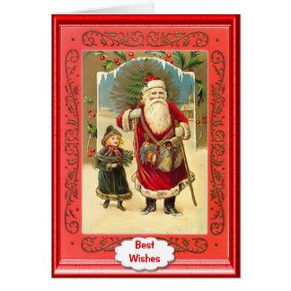 Santa and a little girl card
