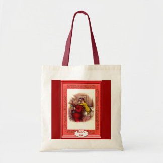 Santa and a little girl tote bag