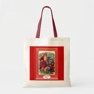 Santa and a rocking horse tote bag