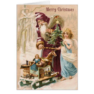 Santa and Angel Vintage Christmas Card