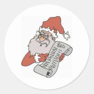 Santa and Bad List Round Stickers