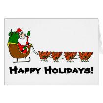 Santa and Chicken Reindeer Card