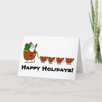 Santa and Chicken Reindeer Holiday Card