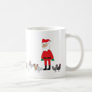 Santa and Chickens Coffee Mug