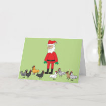 Santa and Chickens Holiday Card