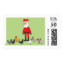 Santa and Chickens Postage