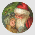 Santa and Child BFF Vintage Art Christmas Cards Classic Round Sticker