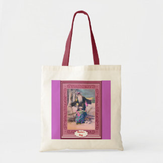 Santa and child in the forest tote bag