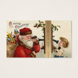 Santa and Child on Phone Business Card