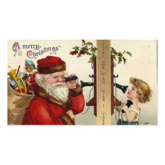Santa and Child on Phone Business Card Template