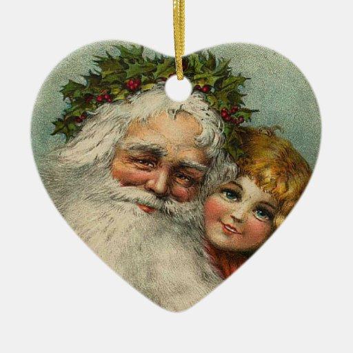 santa and child vintage heart christmas ornament