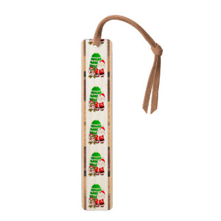 Santa And Christmas Bear Maple Bookmark